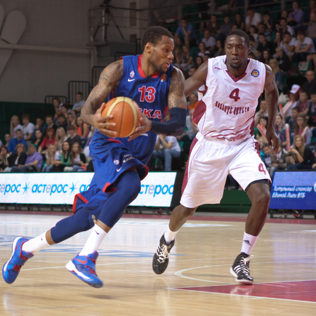 SAMARA, RUSSIA - MAY 19: Sonny Weems of BC CSKA, with ball, is on the attack during a BC Krasnye Krylia game on May 19, 2013 in Samara, Russia.