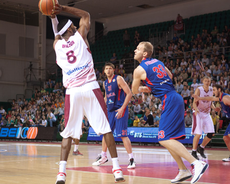 vasiliev: SAMARA, RUSSIA - MAY 19: Lamayne Wilson of BC Krasnye Krylia throws the ball in a basket during a BC CSKA game on May 19, 2013 in Samara, Russia.