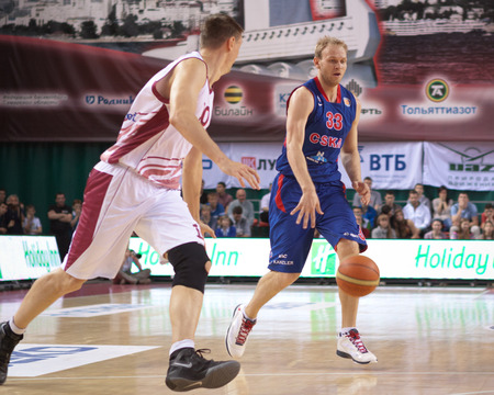 vasiliev: SAMARA, RUSSIA - MAY 19: Anton Ponkrashov of BC CSKA, with ball, is on the attack during a BC Krasnye Krylia game on May 19, 2013 in Samara, Russia. Editorial