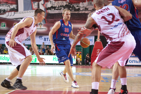 teammate: SAMARA, RUSSIA - MAY 19: Anton Ponkrashov of BC CSKA, with ball, is on the attack during a BC Krasnye Krylia game on May 19, 2013 in Samara, Russia. Editorial