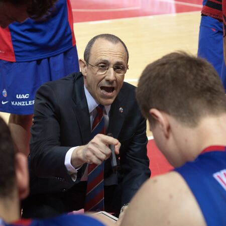 SAMARA, RUSSIA - MAY 20: Timeout. Head coach of BC CSKA Ettore Messina during a game against BC Krasnye Krylia on May 20, 2013 in Samara, Russia.