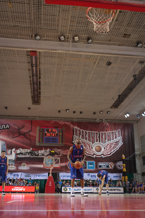 SAMARA, RUSSIA - MAY 20: Aaron Jackson of BC CSKA gets ready to throw from the free throw line in a game against BC Krasnye Krylia on May 20, 2013 in Samara, Russia.