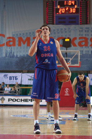 SAMARA, RUSSIA - MAY 20: Alexander Kaun of BC CSKA gets ready to throw from the free throw line in a game against BC Krasnye Krylia on May 20, 2013 in Samara, Russia. Editorial