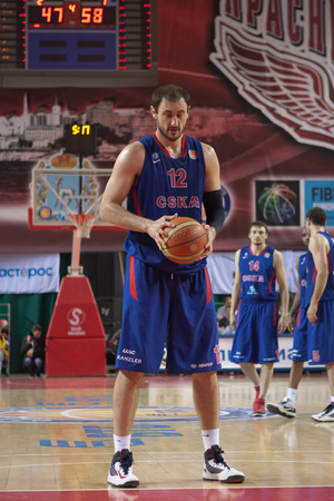 SAMARA, RUSSIA - MAY 20: Nenad Krstic of BC CSKA gets ready to throw from the free throw line in a game against BC Krasnye Krylia on May 20, 2013 in Samara, Russia.