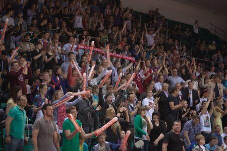 international basketball: SAMARA, RUSSIA - MAY 19: Fans and spectators enjoyed on tribunes at the game between BC CSKA and BC Krasnye Krylia on May 19, 2013 in Samara, Russia. Editorial