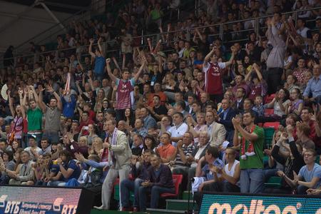 international basketball: SAMARA, RUSSIA - MAY 20: Fans and spectators enjoyed on tribunes at the game between BC CSKA and BC Krasnye Krylia on May 20, 2013 in Samara, Russia.