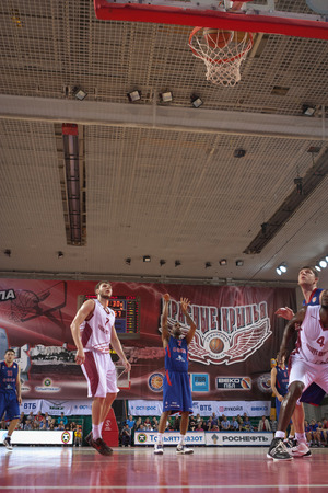 scored: SAMARA, RUSSIA - MAY 20: Aaron Jackson of BC CSKA scored a goal from the free throw line in a game against BC Krasnye Krylia on May 20, 2013 in Samara, Russia.