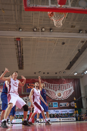 vasiliev: SAMARA, RUSSIA - MAY 20: Nenad Krstic of BC CSKA throws from the free throw line in a game against BC Krasnye Krylia on May 20, 2013 in Samara, Russia.