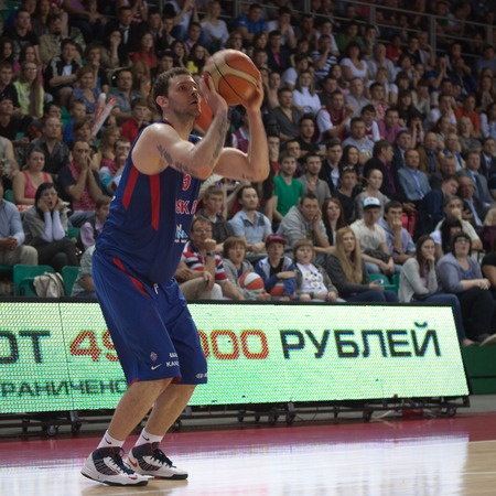 SAMARA, RUSSIA - MAY 20: Vladimir Micov of BC CSKA makes 3-point shot in a game against BC Krasnye Krylia on May 20, 2013 in Samara, Russia.