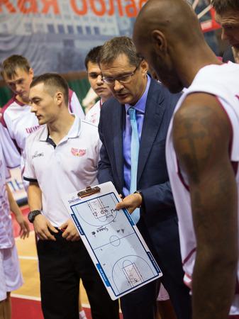 vasiliev: SAMARA, RUSSIA - NOVEMBER 06: Timeout. Head coach of BC Krasnye Krylia Sergey Bazarevich during a timeout of the game against BC Royal Hali Gaziantep on November 06, 2013 in Samara, Russia.
