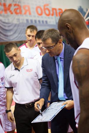 vasiliev: SAMARA, RUSSIA - NOVEMBER 06: Timeout. Head coach of BC Krasnye Krylia Sergey Bazarevich during a timeout of the BC Royal Hali Gaziantep basketball game on November 06, 2013 in Samara, Russia. Editorial