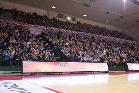 international basketball: SAMARA, RUSSIA - NOVEMBER 06: Fans and spectators on the stand during the BC Krasnye Krylia and BC Royal Hali Gaziantep basketball game on November 06, 2013 in Samara, Russia.