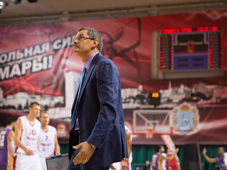 vasiliev: SAMARA, RUSSIA - NOVEMBER 06: BC Krasnye Krylia head coach Sergey Bazarevich during the BC Royal Hali Gaziantep basketball game on November 06, 2013 in Samara, Russia.