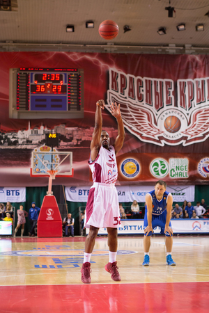 SAMARA, RUSSIA - NOVEMBER 09: BC Krasnye Krylia guard Aaron Miles (32) shoots a free throw during the BC Neptunas game on November 09, 2013 in Samara, Russia.