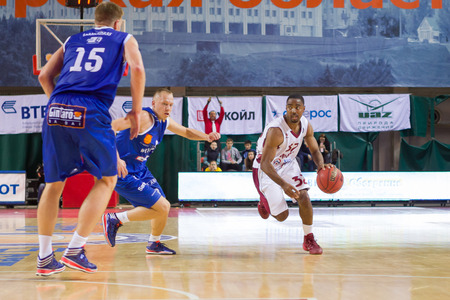 32: SAMARA, RUSSIA - NOVEMBER 09: BC Krasnye Krylia guard Aaron Miles (32) drives during the BC Neptunas basketball game on November 09, 2013 in Samara, Russia.