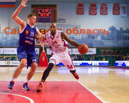 34: SAMARA, RUSSIA - NOVEMBER 09: BC Krasnye Krylia guard Bracey Wright (34) drives to the basket during the BC Neptunas game on November 09, 2013 in Samara, Russia.