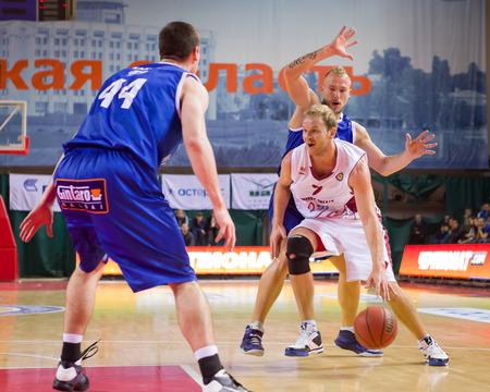 anton: SAMARA, RUSSIA - NOVEMBER 09: BC Krasnye Krylia guard Anton Ponkrashov (7) dribbles the ball during the BC Neptunas basketball game on November 09, 2013 in Samara, Russia.