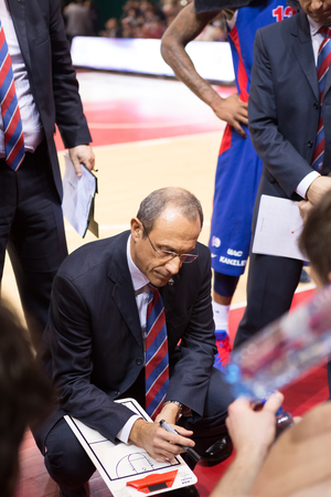 timeout: SAMARA, RUSSIA DECEMBER 01: BC CSKA head coach Ettore Messina during a timeout of the BC Krasnye Krylia basketball game on December 01, 2013 in Samara, Russia.