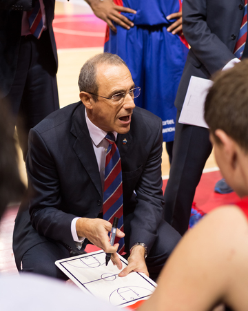 timeout: SAMARA, RUSSIA � DECEMBER 01: BC CSKA head coach Ettore Messina during a timeout of the BC Krasnye Krylia basketball game on December 01, 2013 in Samara, Russia.