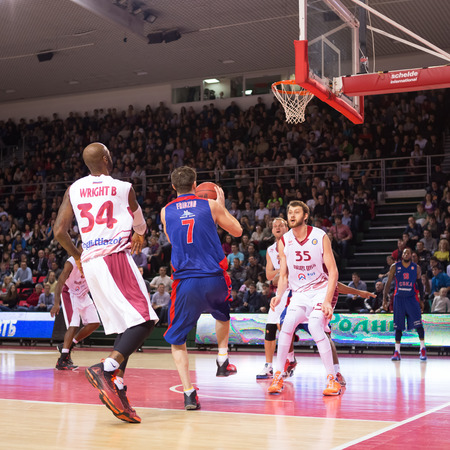 vitaly: SAMARA, RUSSIA � DECEMBER 01: BC CSKA guard Vitaly Fridzon (7), with ball, is on the attack during the BC Krasnye Krylia game on December 01, 2013 in Samara, Russia.
