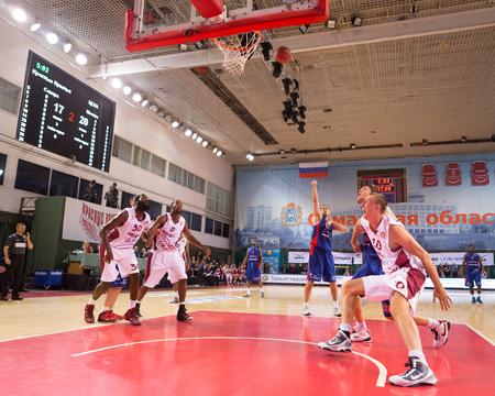 SAMARA, RUSSIA — DECEMBER 01: BC CSKA center Nenad Krstic (12) shoots a free throw during the BC Krasnye Krylia game on December 01, 2013 in Samara, Russia.