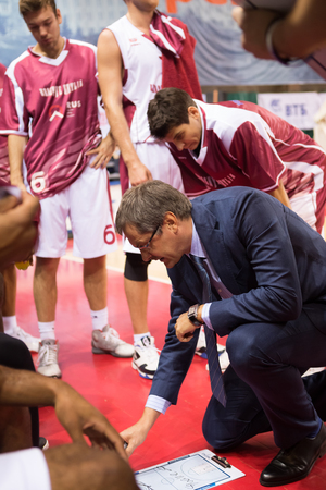timeout: SAMARA, RUSSIA � DECEMBER 01: BC Krasnye Krylia head coach Sergey Bazarevich during a timeout of the BC CSKA basketball game on December 01, 2013 in Samara, Russia.