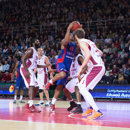 kyle: SAMARA, RUSSIA � DECEMBER 01: BC CSKA forward Kyle Hines (42), with ball, is on the attack during the BC Krasnye Krylia game on December 01, 2013 in Samara, Russia. Editorial