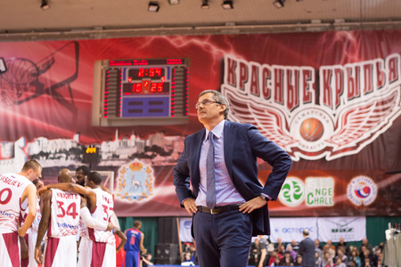 SAMARA, RUSSIA DECEMBER 01: BC Krasnye Krylia head coach Sergey Bazarevich during the BC CSKA basketball game on December 01, 2013 in Samara, Russia.
