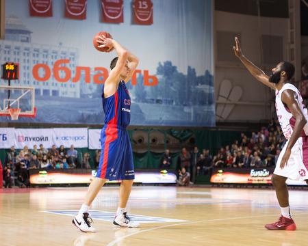 SAMARA, RUSSIA DECEMBER 01: BC CSKA forward Victor Khryapa (31), with ball, is on the attack during the BC Krasnye Krylia game on December 01, 2013 in Samara, Russia.