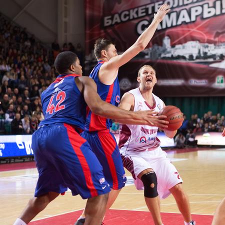 SAMARA, RUSSIA — DECEMBER 01: BC Krasnye Krylia guard Anton Ponkrashov (7), with ball, is on the attack during the BC CSKA game on December 01, 2013 in Samara, Russia.