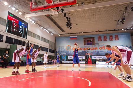 SAMARA, RUSSIA � DECEMBER 01: BC CSKA center Nenad Krstic (12) shoots a free throw during the BC Krasnye Krylia game on December 01, 2013 in Samara, Russia. Editorial