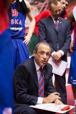 SAMARA, RUSSIA — DECEMBER 01: BC CSKA head coach Ettore Messina during a timeout of the BC Krasnye Krylia basketball game on December 01, 2013 in Samara, Russia.