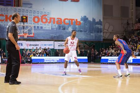 SAMARA, RUSSIA — DECEMBER 01: BC Krasnye Krylia guard Aaron Miles (32) with ball during the BC CSKA basketball game on December 01, 2013 in Samara, Russia.