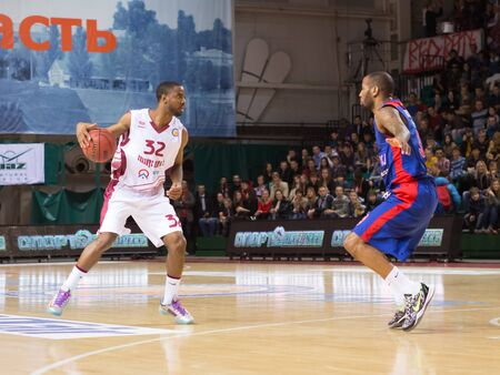 miles: SAMARA, RUSSIA � DECEMBER 01: BC Krasnye Krylia guard Aaron Miles (32) with ball goes against a BC CSKA player on December 01, 2013 in Samara, Russia.