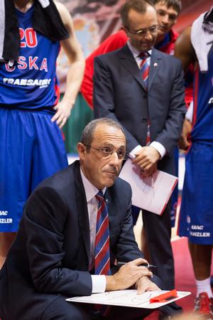 SAMARA, RUSSIA - DECEMBER 01: BC CSKA head coach Ettore Messina during a timeout of the BC Krasnye Krylia basketball game on December 01, 2013 in Samara, Russia.