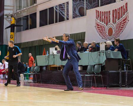 SAMARA, RUSSIA - DECEMBER 17: BC Krasnye Krylia head coach Sergey Bazarevich rages at sideline during the BC Atomeromu basketball game on December 17, 2013 in Samara, Russia. Editorial