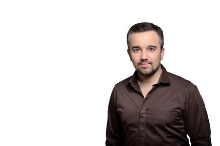 Nice man horizontal portrait isolated on white background