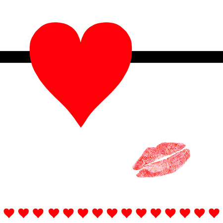Hearts and lipstick kiss post card - stock photo