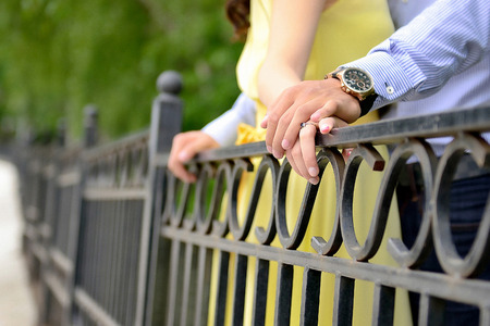 Engagement. Hands holding Standard-Bild