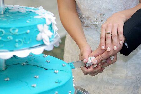 Braut und Bräutigam schneiden die Torte auf Hochzeit Sitzung Standard-Bild - 39560368