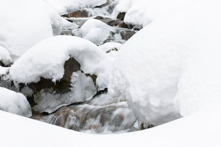 Snow mountine river in Kazakhstan forest. Shoot made on long exposure mode