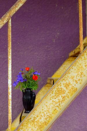 Vase with flowers on the rust ladder