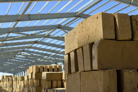 Outdoor. Under blue sky bricks manufacturing - stock photo