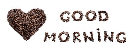 Guten Morgen! Herz aus Kaffee Standard-Bild - 44835835