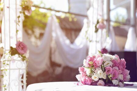Bride's bouquet, blured light background