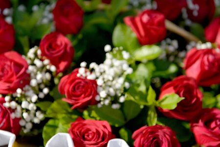 Blured bouquet of beautiful fresh roses close up
