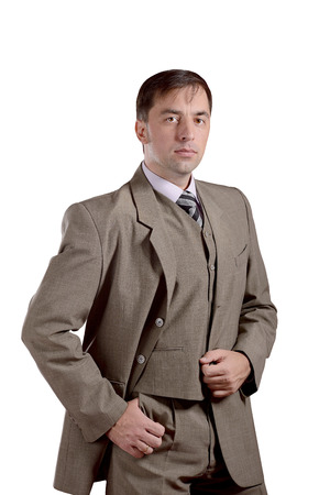 Business man standing portrait in old style suit isolated on white background