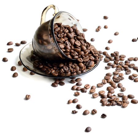 12 o'clock: Cup of coffee beans isolated on white background