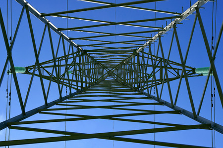 The high-voltage post and the blue sky