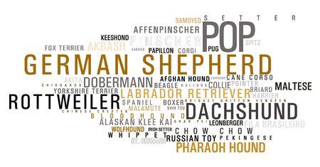 alaskian: A list of dog breeds words on white Stock Photo